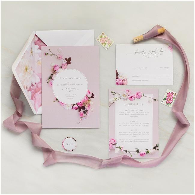 pink floral wedding stationary invitation save the date order of service rsvp soft petal ranunculus